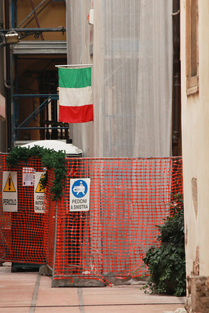 Italy, Verona, Construction Site Flying Italian Flag
