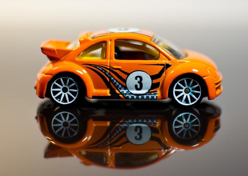 Toy car on black ice