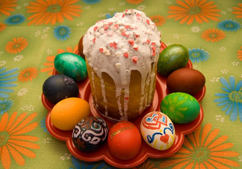 Пасхальный кулич и яйца