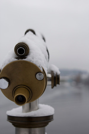 Switzerland, Lucerne, Telescope Covered in Ice SNM