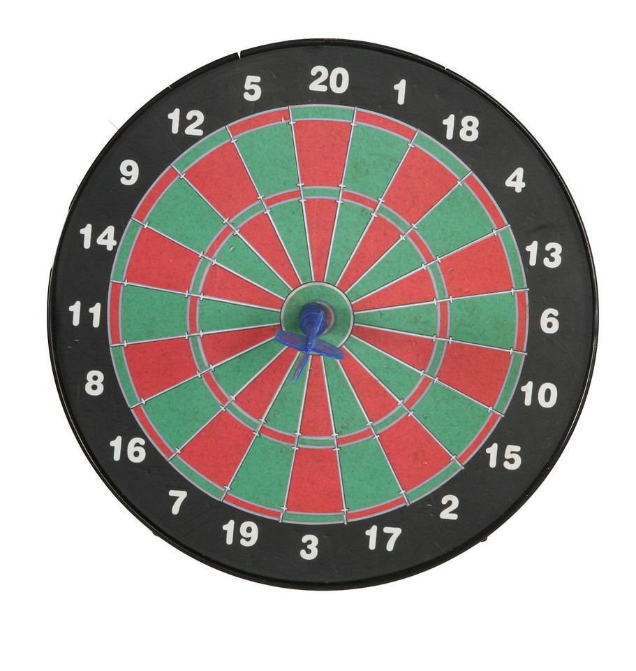 Red and green dartboard