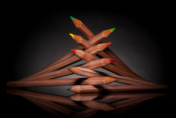 stacked color pencils