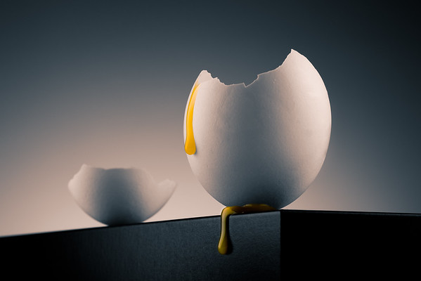 egg shell with yolk