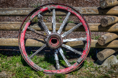Wood Wagon Wheel - Metchosin, Vancouver Island, British Columbia, Canada