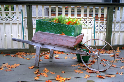 A Wheelbarrow Full Of Leaves