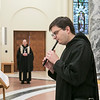 On Dec. 15, 2018, 19 people were invested as oblate novices and 17 made their final oblations as Benedictine Oblates of Saint Meinrad, during a ceremony in the Archabbey Church. Archabbot Kurt Stasiak, OSB, presided at the ceremony. <br /> <br /> After the ceremony, oblates headed to the Newman Dining Room for coffee and cake and for the third session of the December oblate retreat presented by Fr. Denis Robinson, OSB. Fr. Denis talked to the oblates about the domestic church.