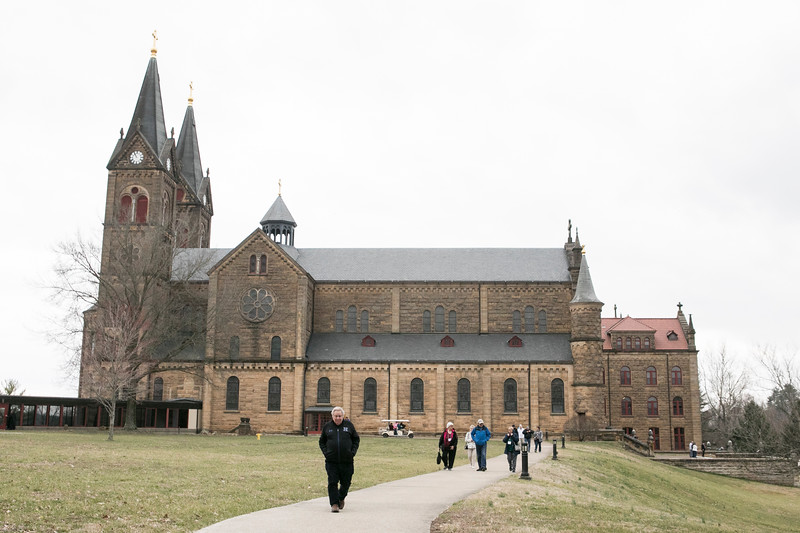 Oblates attend the March retreat at Saint Meinrad's Guest House on March 21, 2019. This day is the Feast of St. Benedict and the 140 anniversary of the Saint Meinrad Oblates being established.