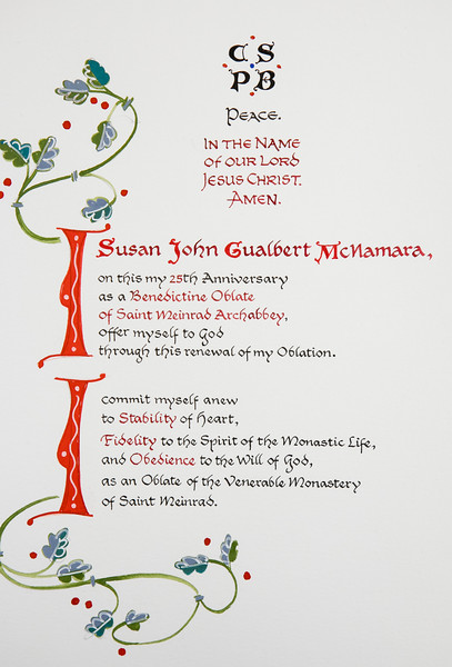 Twenty-fifth anniversary charts for oblates Susan McNamara and Jack Tuinier. The artwork was created by Br. Martin Erspamer, OSB, and the calligraphy was done by Fr. Mateo Zamora, OSB.