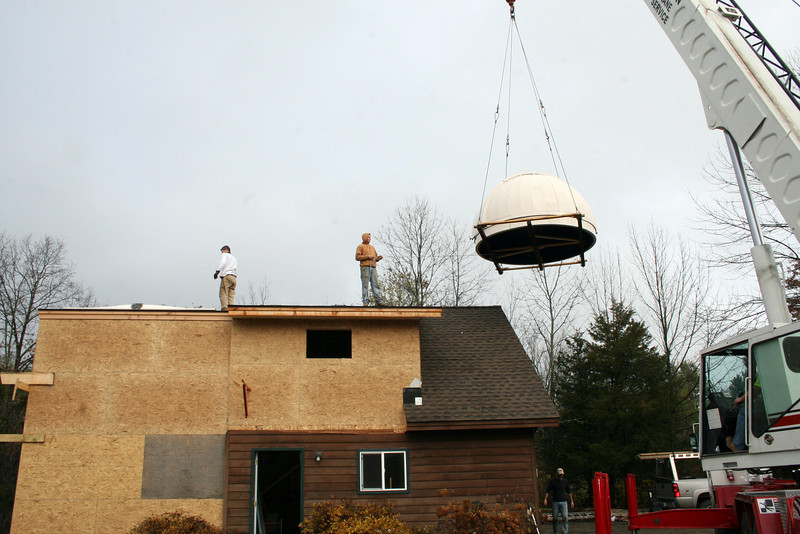 Crane Moving Dome into Position