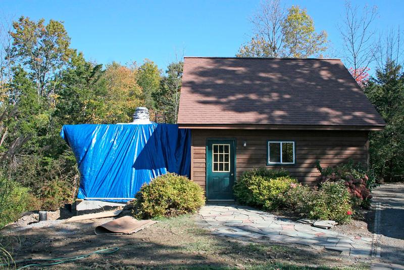 Original Garage with Dome Construction Underway