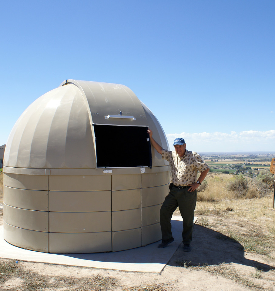 The observatory is set with the door and home shutter position facing northeast, away from the prevailing wind direction.