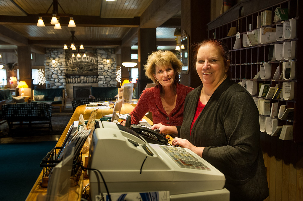 General Manager Laura Cosgrove (left) and Office Manager June Newburn will continue staffing the lodge as before.