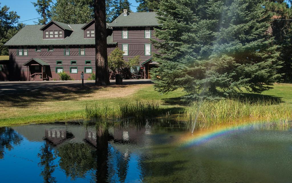 3. Lodge fountain and its rainbow.