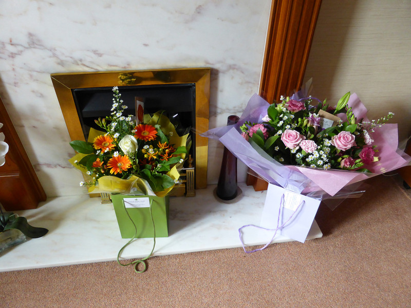Beautiful flowers from Dad (left) and Sandra & Chris (right).
