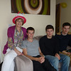 Mum with musical birthday hat (from Jen) and the boys, relaxing in Andrew's flat
