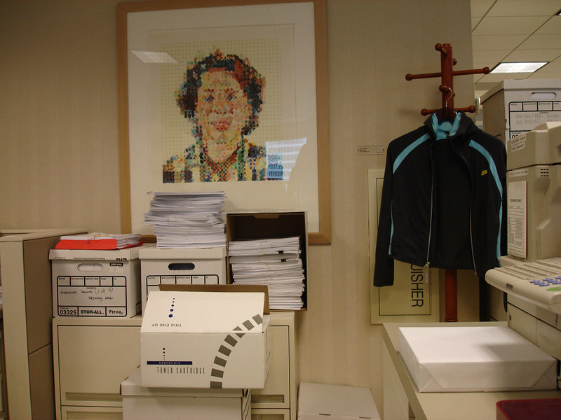 the feng shui book says to put the chuck close print near the stack of crap.