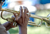 Man's Hand playing the Trumpet