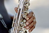 Man's hands playing a Saxophone
