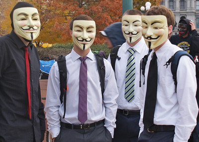 "These students donned ""anonymous"" masks to join the ""Million Mask March"" in Denver."