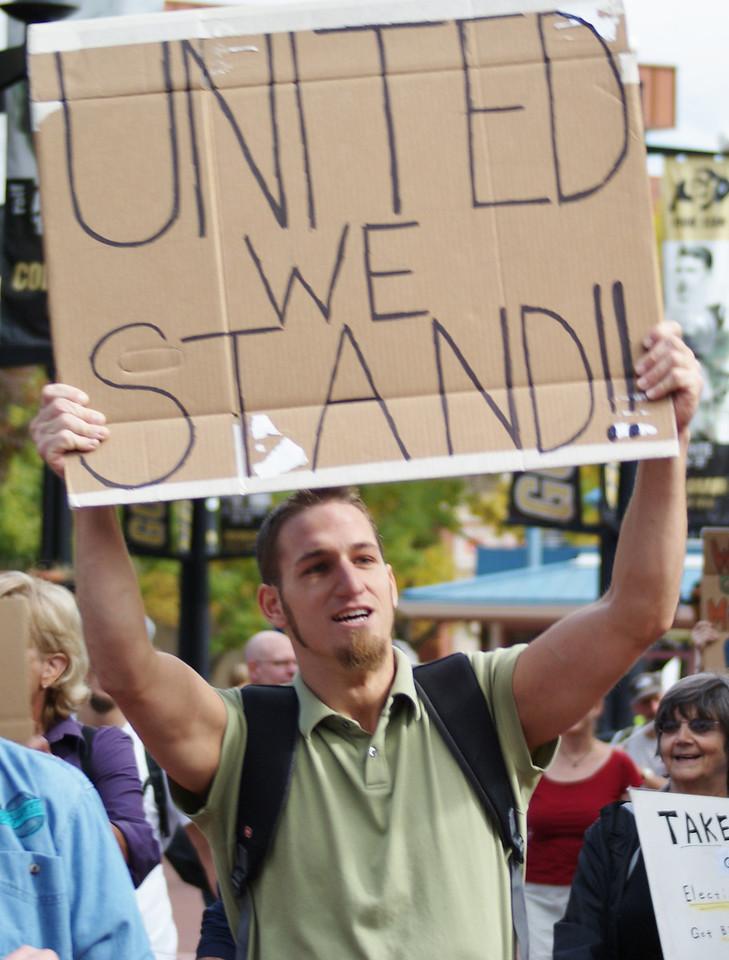 Occupy Boulder demonstration, 10/15/11.