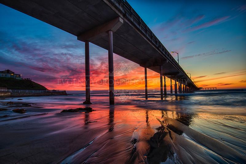 Fiery Sunset At The Ocean Beach Pier