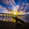 OB Surfer At Sunset