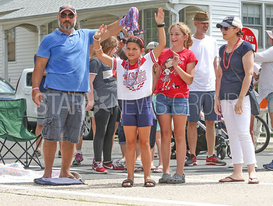 Ava Addotta,[in white] with Kayleigh Nelson [in red], from Navesink. Fourth of July/150th anniversary parade in Ocean Grove, NJ on 7/6/19. [DANIELLA HEMINGHAUS | THE COAST STAR]