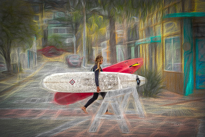 One girl, two boards