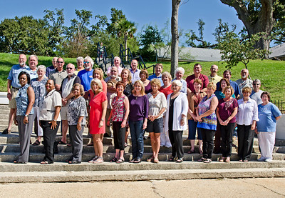 Ocean Springs High School 40 year class reunion of 1971. Picture taken October 1st 2011 at the site of the original class picture taken on the steps on front beach in Ocean Springs. Thirty Six classmates attended.  This photo is cropped to fit in a 9x13 frame and will appear just as seen above.