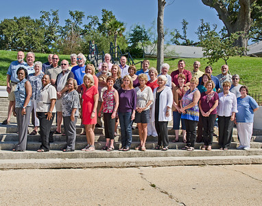 Ocean Springs High School 40 year class reunion of 1971. Picture taken October 1st 2011 at the site of the original class picture taken on the steps on front beach in Ocean Springs. Thirty Six classmates attended.  This photo is cropped to fit in any of these frame sizes. 8x10, 11x14, 16x20. It will appear just as seen above.
