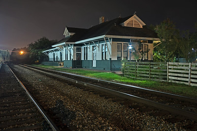 Train Depot in Ocean Springs, Ms. taken after 10:00 PM.  Night time and available light photography are some of my favorites.