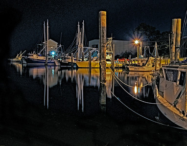 Ocean Springs marina at night.