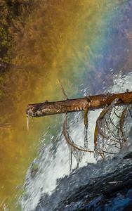 Rainbow Around Frozen Log in Upper Mesa Falls