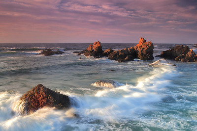 Haystacks In Crashing Surf Wide - Sunset - Fort Bragg, CA