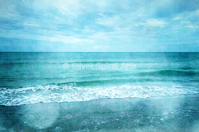Tropical Beach in Teal Aqua Turquoise Blue with Ocean Waves