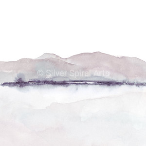 Mountains & Water Abstract Watercolor in Pastel Neutrals of Gray and Blush