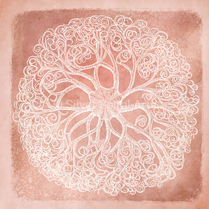 Sea Star IV - Coastal Watercolor in Coral and White with 1800s Basket Star Starfish Illustration