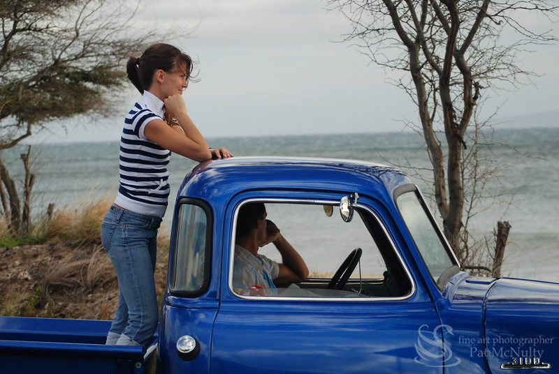 Blue Pick Up Truck by the Ocean Picture
