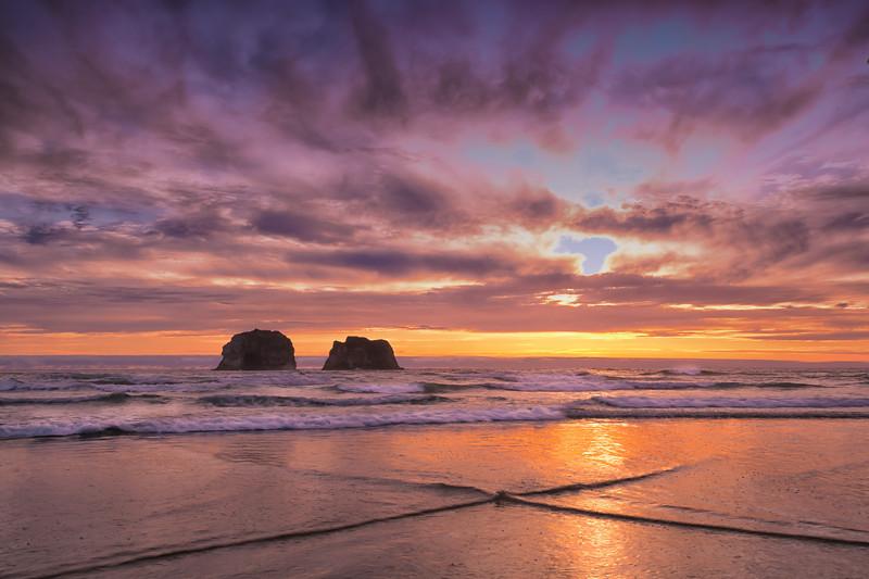 X marks the spot at Rockaway Beach, Oregon coast
