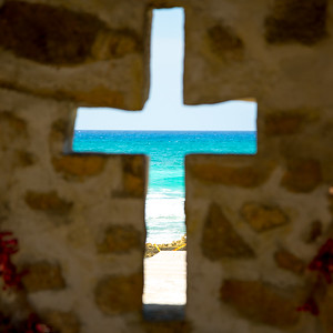 Ocean View Through Cross in Cozumel