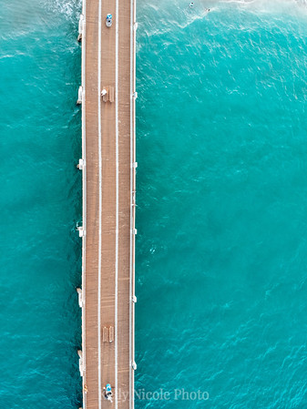 Pier over bright blue water