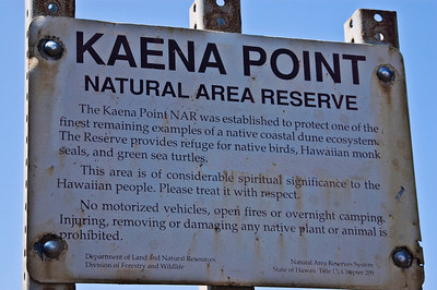 Kaena Point Natural Area Reserve Sign  Ka'ena Point, Northwest tip of O'ahu     March 2008