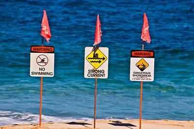 Sunset Beach Warning signs  Morning at Sunset Beach North Shore of O'ahu