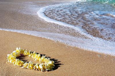 Sunset Beach  Plumeria lei  North Shore, Oahu, Hawaii