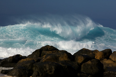 Ehukai Beach Winter Waves at Rockpile  North Shore of O'ahu Hawai'i