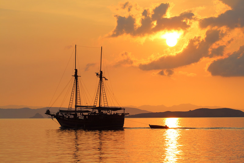 Sunset over the islands of Komodo National Park, Indonesia