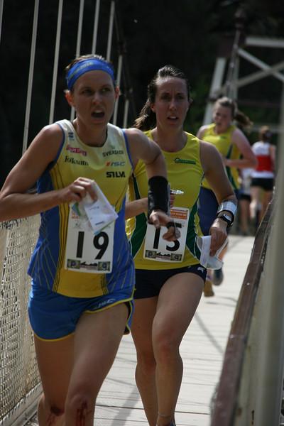 2 January 2015 - IOF World World Cup Sprint Qualification - Cataract Gorge Launceston - Maria Magnusson (SWE), Aislinn Prendergast (AUS)<br /> photo: Kell Sonnichen