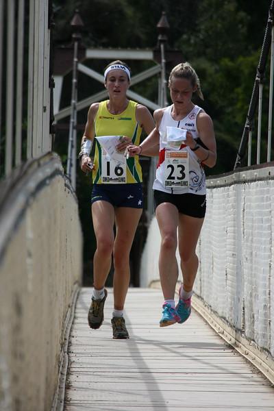 2 January 2015 - IOF World World Cup Sprint Qualification - Cataract Gorge Launceston - Heather Muir (AUS), Mari Fasting (NOR)<br /> photo: Kell Sonnichen