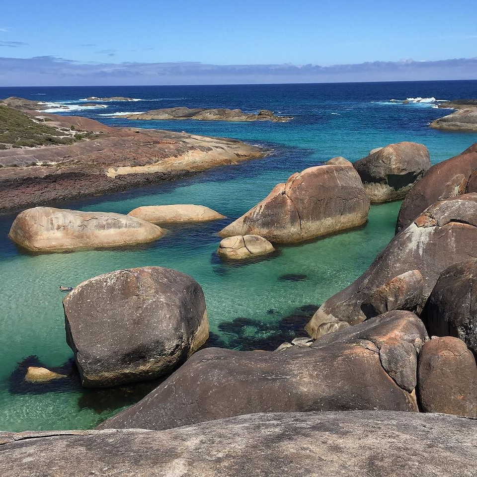 Elephant Rocks, William Bay National Park. Just outside of Denmark, Western Australia. This is for real. No filter, no fuss, no muss. Walk up, be blown away by nature, snap. Then put the camera away and take it all in. Or reverse the order. via Instagram http://ift.tt/2115kBT
