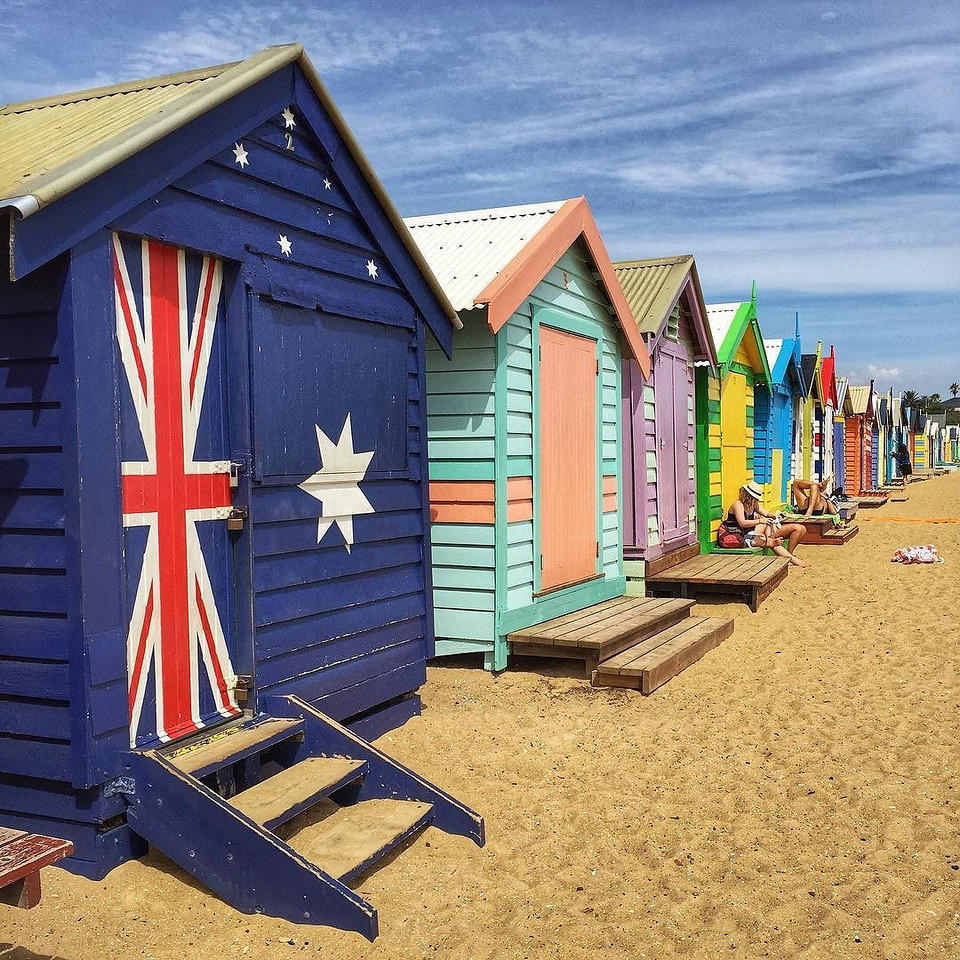 The Brighton Bathing Boxes at Dendy St. Beach just south of Melbourne. Originally built as ladies' changing sheds back in the 1800s, the beach boxes now sell for up to $260,000. You cant sleep in them or sublet them and you have to be a local taxpayer to buy one. We picked up Melbourne spot cycles ($3 for the day), cycled down the coast, fish and chipped at Port Melbourne, and peddled through St. Kilda along the way. via Instagram http://ift.tt/1P30C12